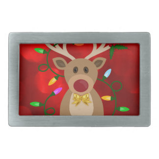Christmas Reindeer in Lights Rectangular Belt Buckle