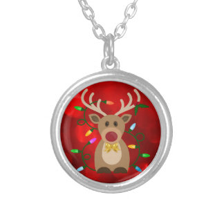 Christmas Reindeer in Lights Silver Plated Necklace