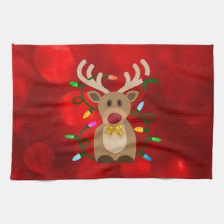 Christmas Reindeer in Lights Tea Towel