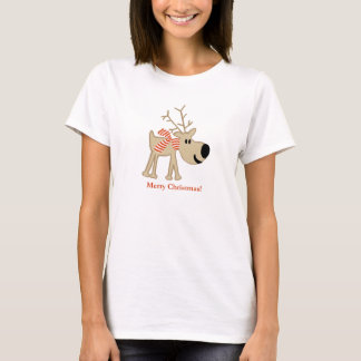 Christmas Reindeer in Red Scarf T-Shirt