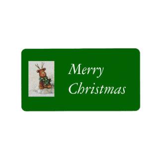 Christmas Reindeer Address Label