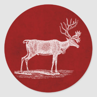 Christmas Reindeer on Red Crimson Parchment Color Classic Round Sticker
