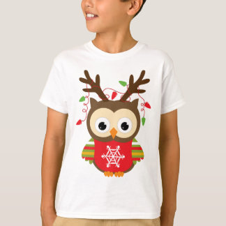 Christmas Reindeer Owl Tshirt