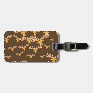 Christmas reindeer pattern luggage tag