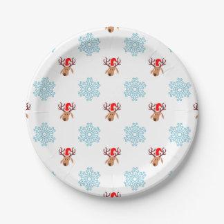Christmas Reindeer Pattern Paper Plate