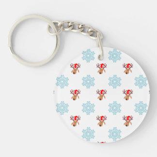 Christmas Reindeer Pattern Single-Sided Round Acrylic Key Ring