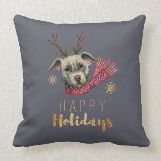 Christmas Reindeer Pit Bull with Faux Gold Fonts Cushion