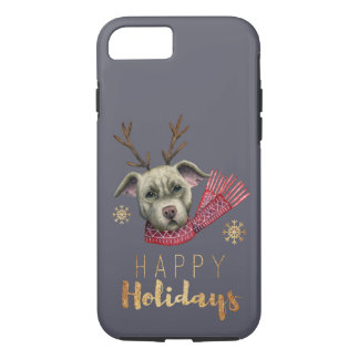 Christmas Reindeer Pit Bull with Faux Gold Fonts iPhone 8/7 Case