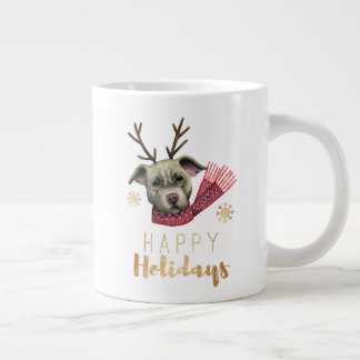 Christmas Reindeer Pit Bull with Faux Gold Fonts Large Coffee Mug