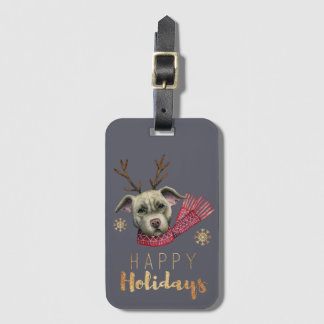 Christmas Reindeer Pit Bull with Faux Gold Fonts Luggage Tag