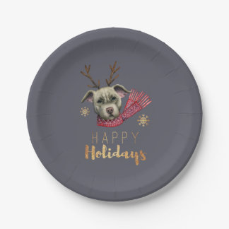 Christmas Reindeer Pit Bull with Faux Gold Fonts Paper Plate