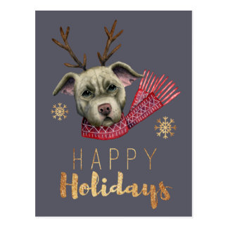 Christmas Reindeer Pit Bull with Faux Gold Fonts Postcard