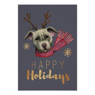 Christmas Reindeer Pit Bull with Faux Gold Fonts Poster
