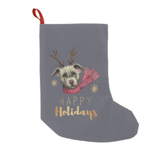 Christmas Reindeer Pit Bull with Faux Gold Fonts Small Christmas Stocking