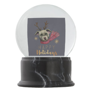 Christmas Reindeer Pit Bull with Faux Gold Fonts Snow Globe