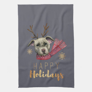 Christmas Reindeer Pit Bull with Faux Gold Fonts Tea Towel