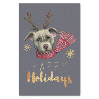 Christmas Reindeer Pit Bull with Faux Gold Fonts Tissue Paper