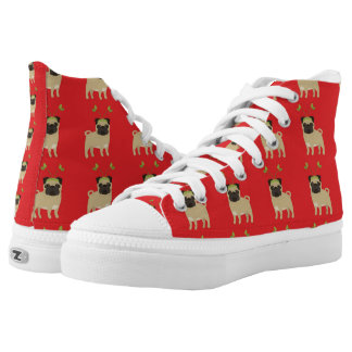 Christmas Reindeer Pugs on Red Background Printed Shoes