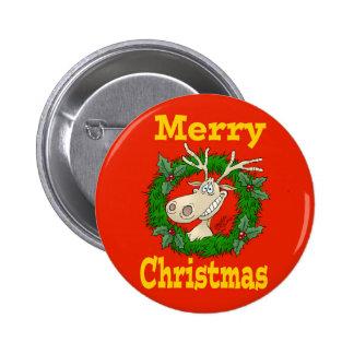 Christmas Reindeer reef. 6 Cm Round Badge