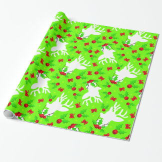Christmas Reindeer Silhouette and Holly Berries Wrapping Paper