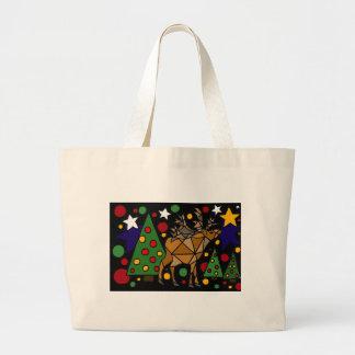 Christmas Reindeer, Trees, and Stars Abstract Art Jumbo Tote Bag