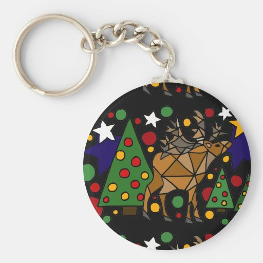 Christmas Reindeer, Trees, and Stars Abstract Art Key Chains