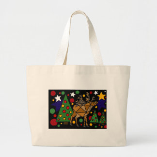Christmas Reindeer, Trees, and Stars Abstract Art Large Tote Bag