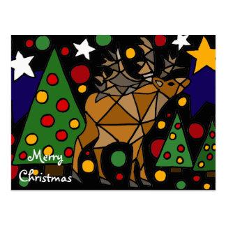 Christmas Reindeer, Trees, and Stars Abstract Art Postcard