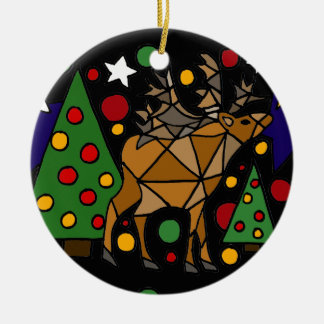 Christmas Reindeer, Trees, and Stars Abstract Art Round Ceramic Decoration