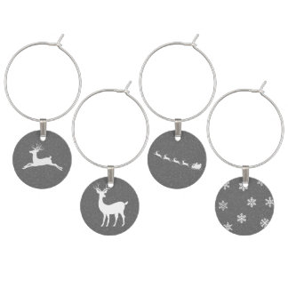 Christmas Reindeer Wine Glass Charm Set of 4