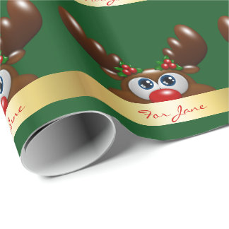 christmas reindeer with a special dedication wrapping paper