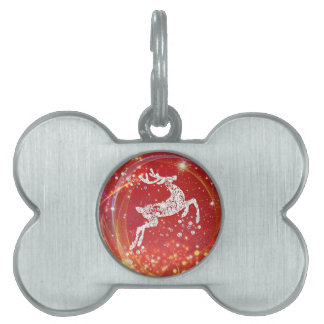 Christmas Reindeer with Sparkles Pet Tag