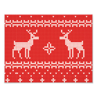 Christmas Reindeers Jumper Knit Pattern Photographic Print