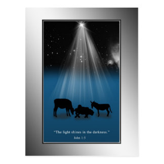 Christmas, Religious, Nativity, Stars, Postcard
