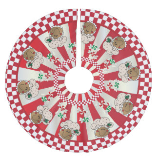 Christmas Retro Gingerbread Bakers Brushed Polyester Tree Skirt