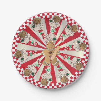 Christmas Retro Gingerbread Bakers 7 Inch Paper Plate