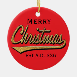 "Christmas""Retro Merry Christmas""/Circle Ornament"