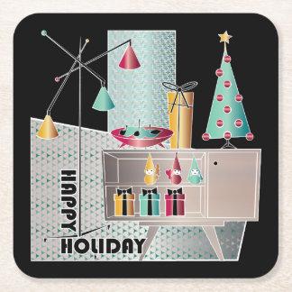 Christmas Retro Tree Square Paper Coaster