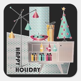 Christmas Retro Tree Square Sticker