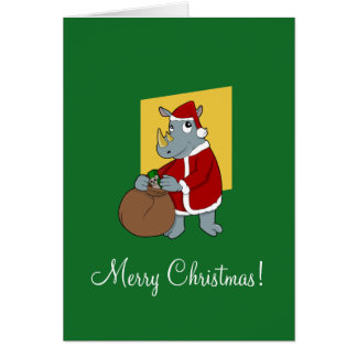 Christmas rhinoceros cartoon greeting card