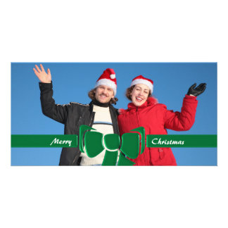 Christmas Ribbon & Bow Green Glass Customized Photo Card