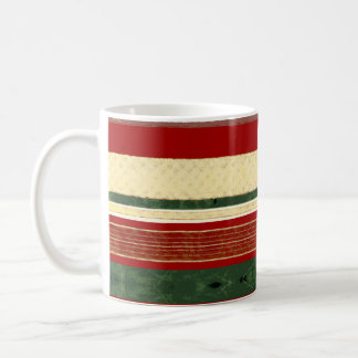 Christmas Ribbon Coffee Mug | Green Red Gold Cream