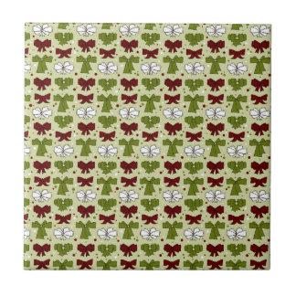 Christmas Ribbons & Bows Small Square Tile