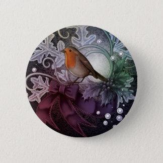 Christmas Robin 6 Cm Round Badge
