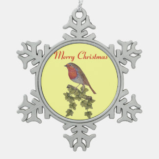 Christmas Robin and ivy leaves illustration Pewter Snowflake Decoration