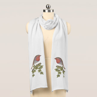 Christmas Robin and ivy leaves illustration scarf