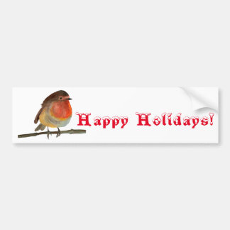 Christmas Robin in Watercolor - Happy Holidays Bumper Sticker