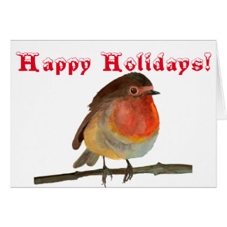 Christmas Robin in Watercolor - Happy Holidays Card