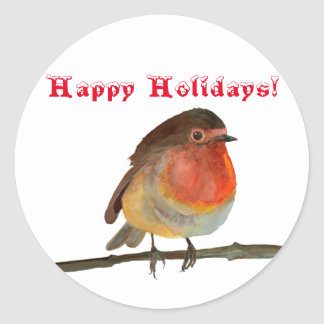 Christmas Robin in Watercolor - Happy Holidays Classic Round Sticker