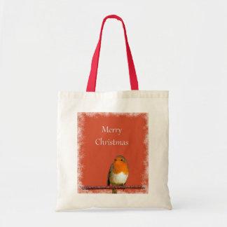 Christmas Robin Red Snowflakes Budget Tote Bag